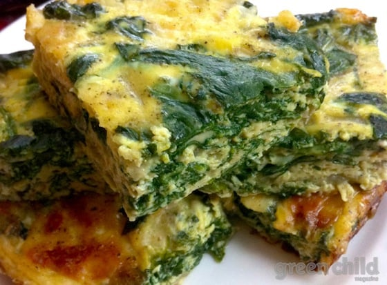Crustless Spinach Quiche Squares Recipe