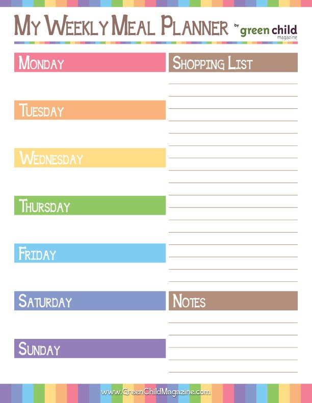 Meal Planner Monday Week