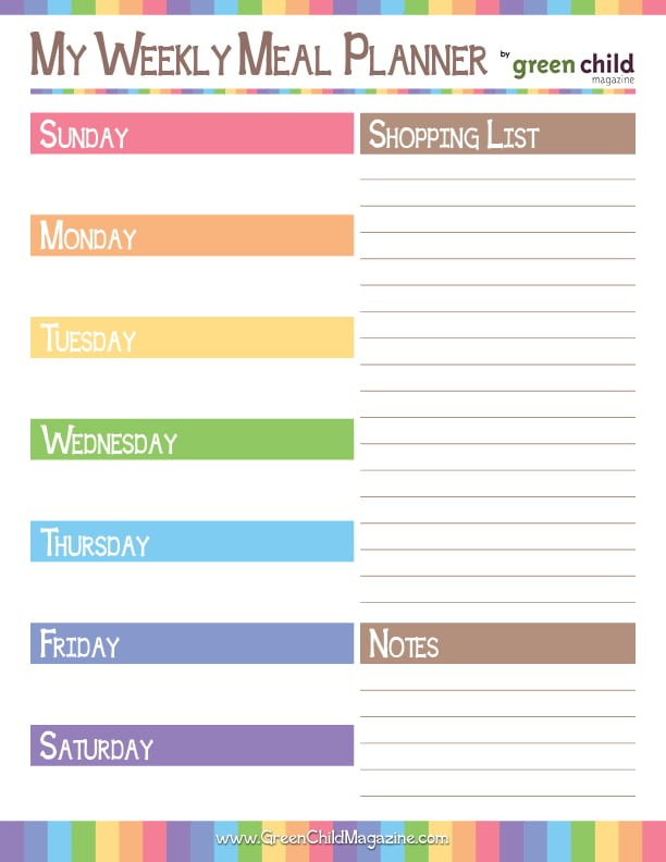 Meal Planner Sunday Week