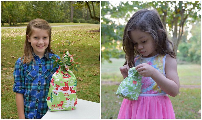 Fabric Gift Bags with Kids