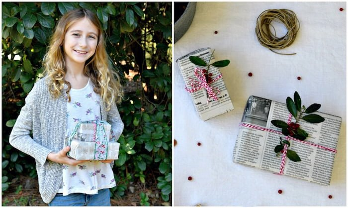 Wrapping gifts in newspaper