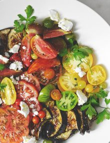 Blistered Eggplant with Tomatoes, Olives, & Feta