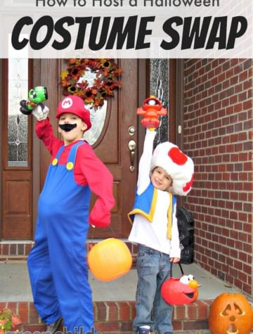 Boys dressed up in Mario and Toad Halloween costumes