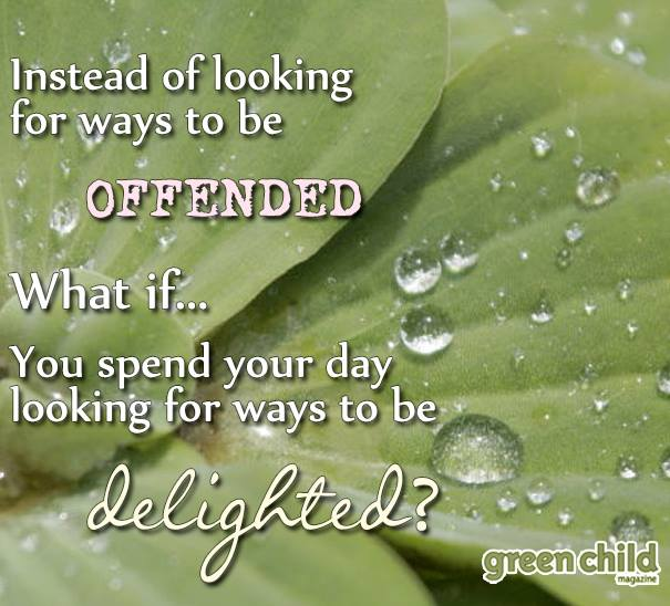 Instead of looking for ways to be offended, look for ways to be delighted