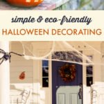 Porch with eco friendly Halloween decorations