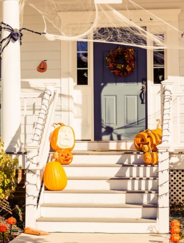 Front porch decorated with Eco-Friendly Halloween Decorations with Natural or Reusable Elements