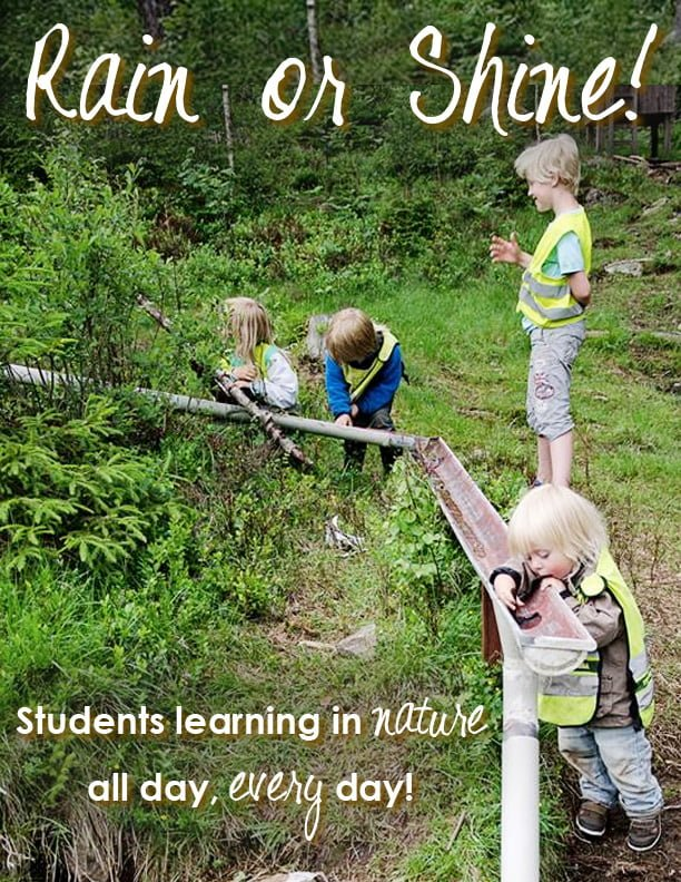 Students learning in nature - rain or shine
