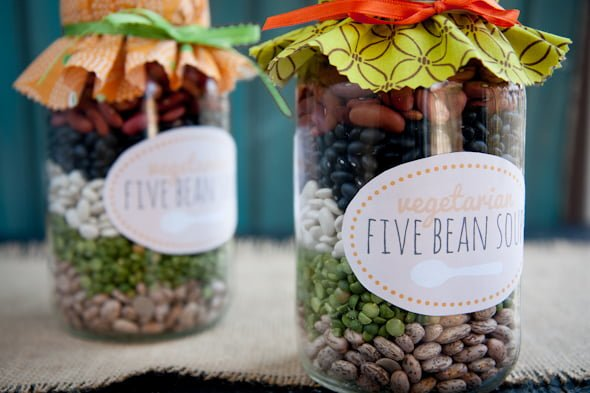vegetarian five bean soup mix via Back to Her Roots