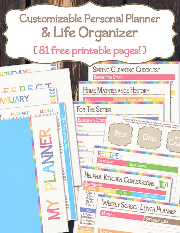 Free Printable & Customizable Personal Planner and Life Organizer