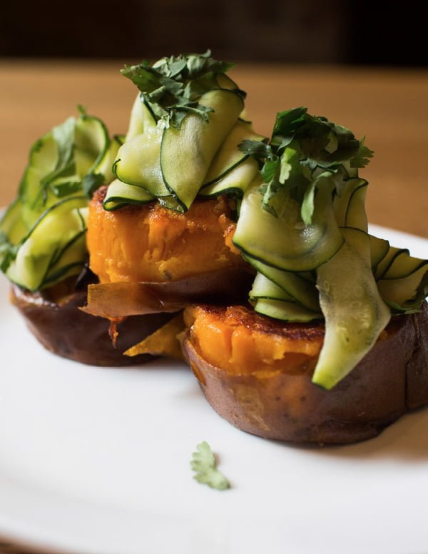 Sweet Potato with Pickled Zucchini - these decadent sweet potatoes are a delicious source of vitamin A!