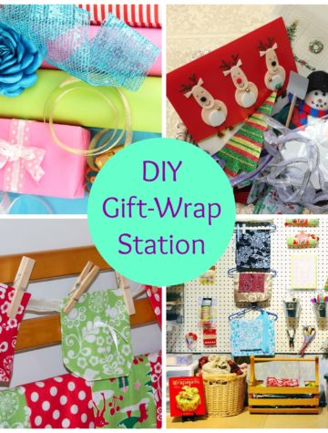 How to organize your gift bags (paper or fabric), wrapping paper, and other items that might be handy to embellish a gift.