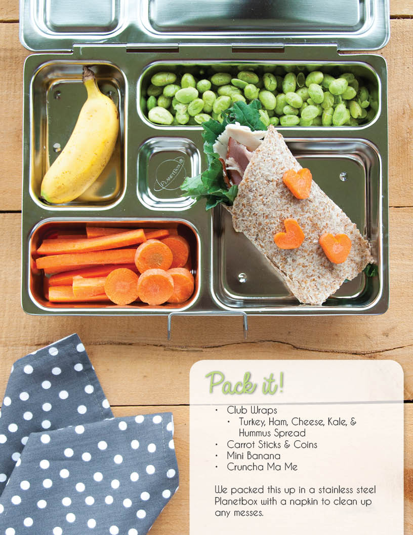 Easy school lunch idea with turkey wrap, carrots, banana, edamame in stainless steel Planetbox lunchbox