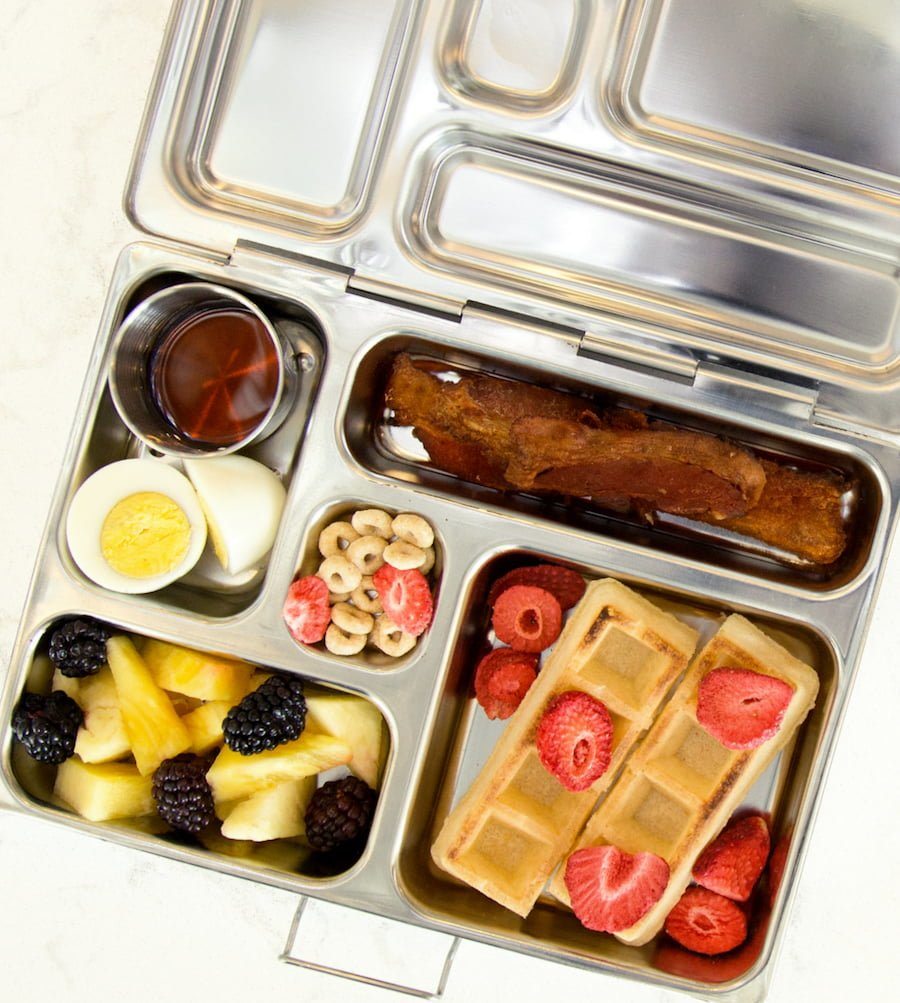 Breakfast for lunch idea: Gluten free waffles, nitrate free bacon, hard boiled eggs, fruit in stainless steel lunchbox