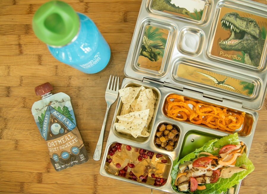 Healthy lunch ideas: Monstrous Appetite - Grilled chicken lettuce wrap (chicken, tomatoes, cheese in romaine lettuce), quinoa chips, curly sweet potatoes, Kombucha jello with pomegranate seeds, roasted chickpeas, and Acai Oatmeal Fruit Squeeze.