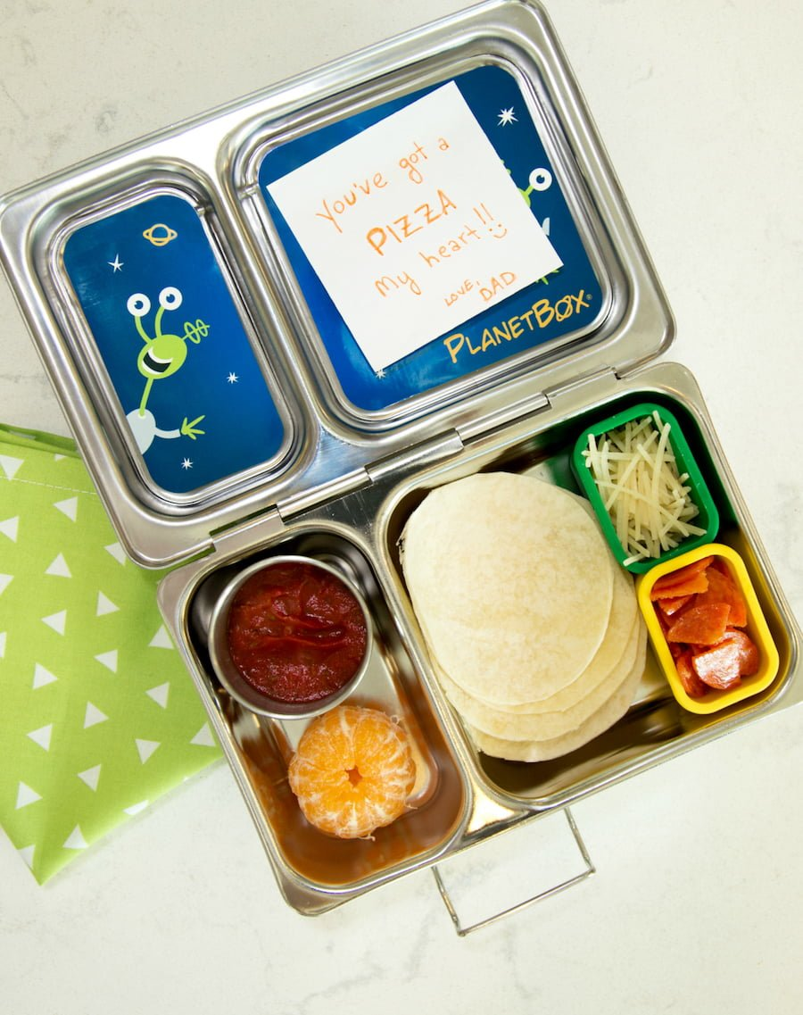 Make Your Own Pizza School Lunch Idea - Mini tortillas, nitrate-free sliced pepperoni, shredded cheese, organic tomato sauce, mandarin orange
