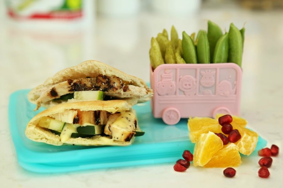 Healthy School Lunch Ideas chicken pita with fruit