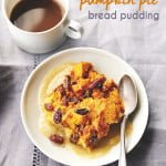 Pumpkin Pie Bread Pudding with Brandy Nog Creme Anglaise
