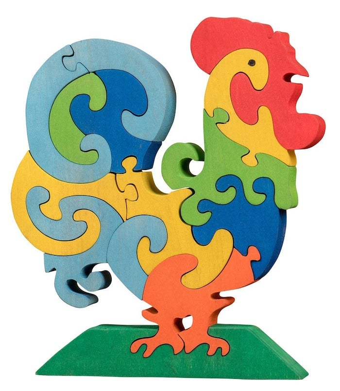 Wooden rooster puzzle