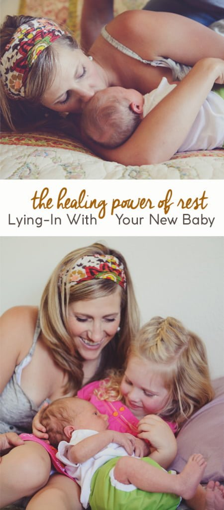 New mom lying in with baby during the postpartum phase