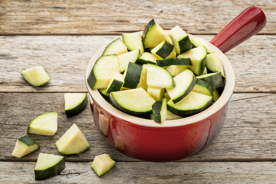 Diced Zucchini for Zucchini Tarragon Soup