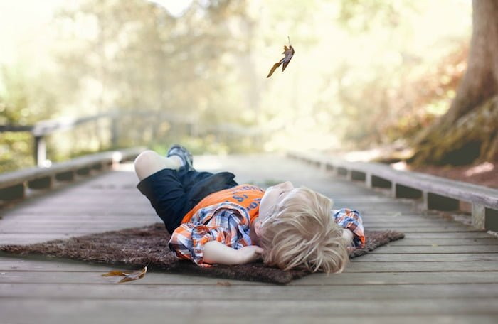 Little boy lying on his back in nature as a leaf falls from an overhead tree