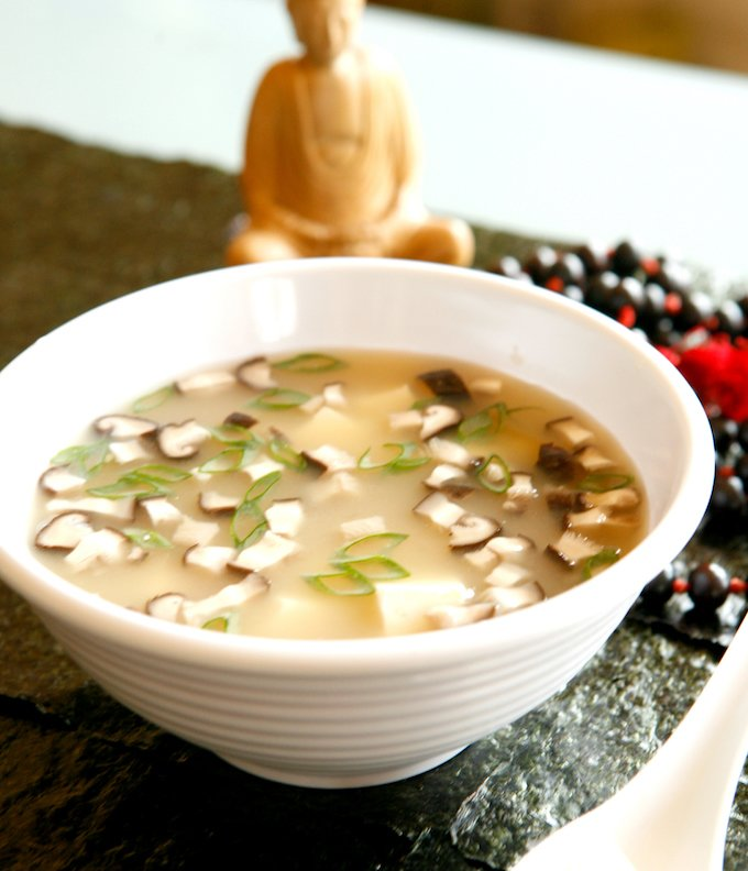 Japanese Miso Soup with Scallions and Mushrooms
