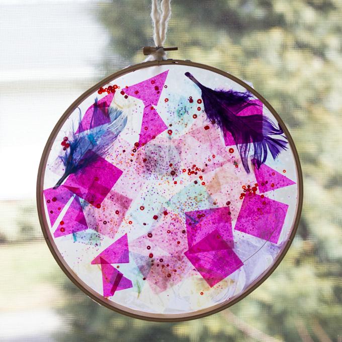 Tissue Paper Suncatcher activity from the Artful Parent
