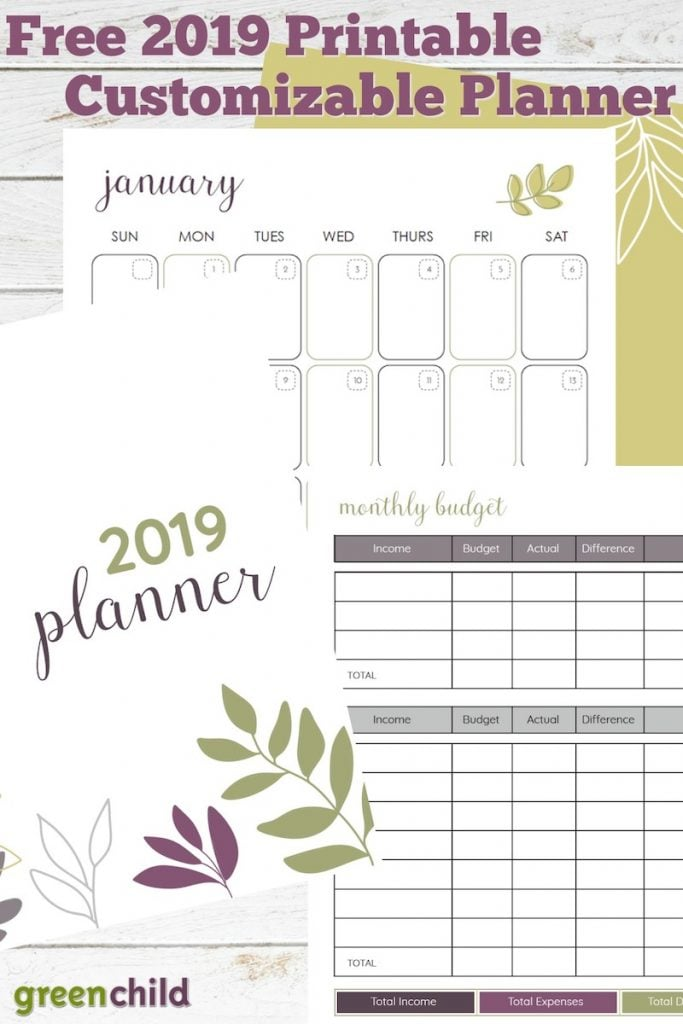 Green Child's free printable planner for 2019