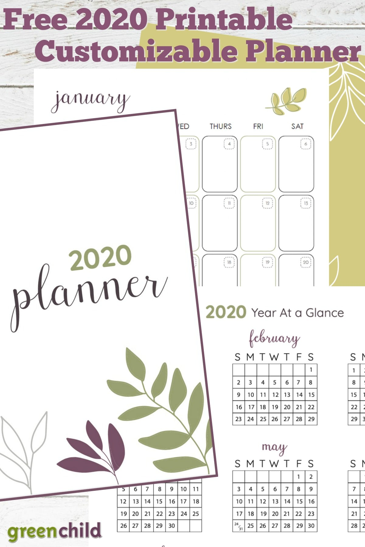 Green Child's free printable planner