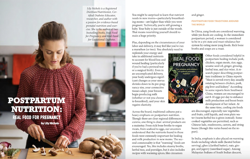 Postpartum Nutrition Spread Spring 2019 issue Green Child