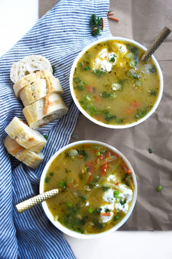 Made with roasted garlic, fresh herbs, scallions, and root vegetables, this Garlic Chicken Bone Broth Soup is a soothing, nourishing way to get all the benefits of bone broth.