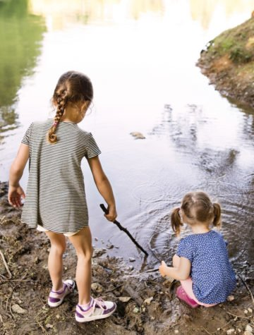 Girls playing in nature