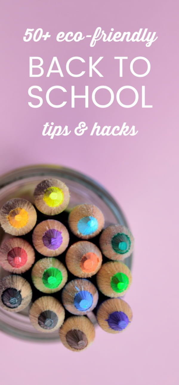 Colored pencils on purple background for roundup on Back to School tips and hacks