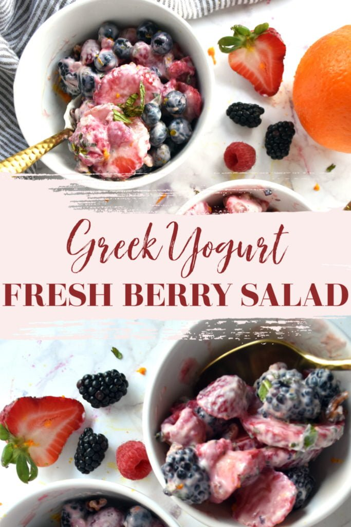 Berry fruit salad in bowl with Greek yogurt