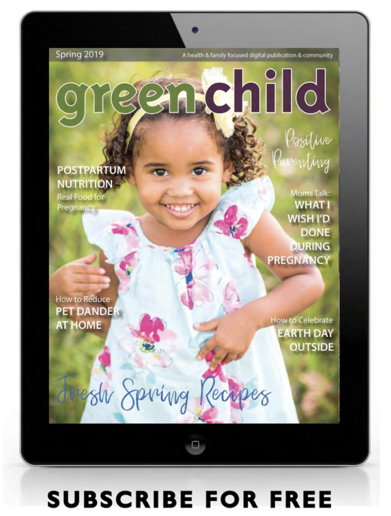 Cover of Green Child Magazine on tablet