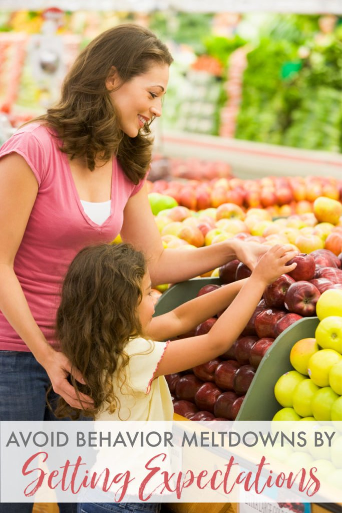 Mother and daughter grocery shopping together as an example of setting expectations for behavior