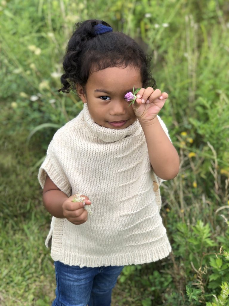 Merino Wool Hand Knit Cowl Neck Cape